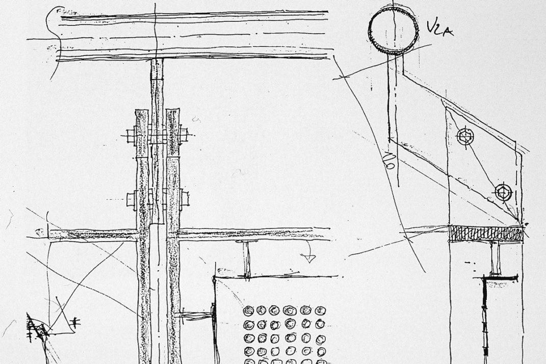 Handskizze eines Details für das Hotel Bleibtreu